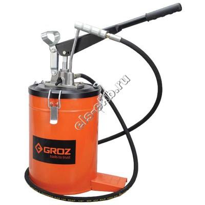 Нагнетатель смазки ручной GROZ VGP-10A, арт. 44281 (с переключателем давления, с емкостью 10 л)