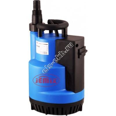 Насос дренажный погружной JEMIX FSCP-750 с рубашкой охлаждения и встроенным поплавком (Qmax=11 м³/час; Hmax=9 м; 220В; 0,75 кВт; кабель 8 метров)