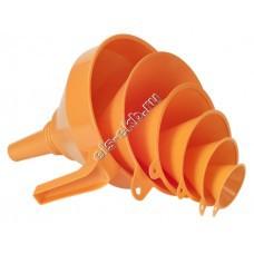 Набор воронок пластиковых для топлива и масла PRESSOL, арт. 02372043 (Ø50-75-100-120-150-160 мм; 0,05–0,09–0,25–0,27–0,7–1,2 л; с ситом)