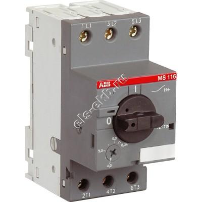 Автомат защиты электродвигателя ABB MS 116-4,0 (1,5 кВт; с регулировкой тепловой защиты)