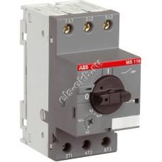 Автомат защиты электродвигателя ABB MS 116-6,3 (2,2 кВт, с регулировкой тепловой защиты)
