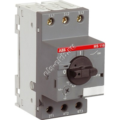 Автомат защиты электродвигателя ABB MS 116-6,3 (2,2 кВт; с регулировкой тепловой защиты)