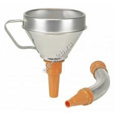 Воронка металлическая для бензина и масла PRESSOL, арт. 02645 (Ø160 мм, 1,3 л, с ситом, и гибким сливом из металла)