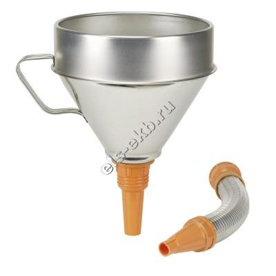 Воронка металлическая для бензина и масла PRESSOL, арт. 02344950 (Ø200 мм; 3,2 л; с ситом; с прямым и гибким сливом)