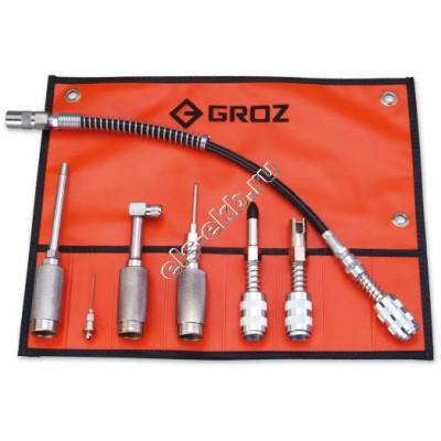 Набор быстросъемных насадок для смазочного оборудования GROZ GAK/7, арт. 44950